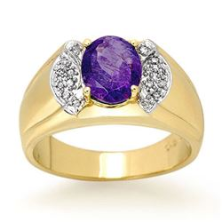 2.65 CTW Tanzanite & Diamond Men's Ring 10K Yellow Gold - REF-70F4N - 13477
