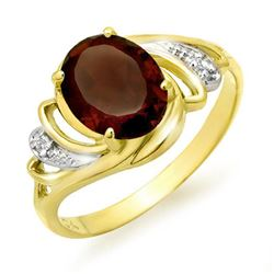 2.03 CTW Garnet & Diamond Ring 10K Yellow Gold - REF-16K4W - 12660