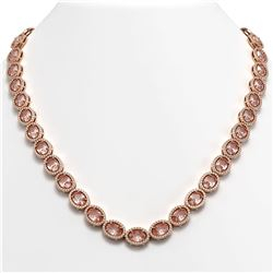 45.98 CTW Morganite & Diamond Halo Necklace 10K Rose Gold - REF-850M9H - 40566