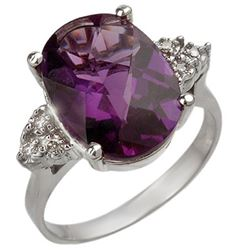 5.10 CTW Amethyst & Diamond Ring 18K White Gold - REF-58K2W - 10821