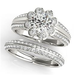 1.86 CTW Certified VS/SI Diamond 2Pc Wedding Set Solitaire Halo 14K White Gold - REF-418K4W - 31286
