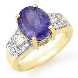 5.55 CTW Tanzanite & Diamond Ring 10K Yellow Gold - REF-144F8N - 11693