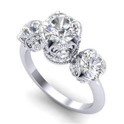 3 CTW VS/SI Diamond Solitaire Art Deco 3 Stone Ring 18K White Gold - REF-649T3M - 36866