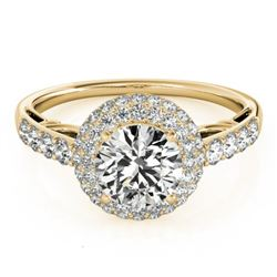 1.65 CTW Certified VS/SI Diamond Solitaire Halo Ring 18K Yellow Gold - REF-411N8Y - 26499