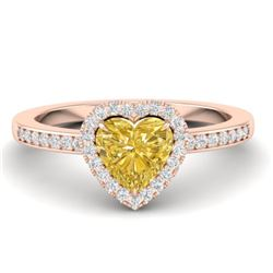 1 CTW Citrine & Micro Pave Ring Heart Halo 14K Rose Gold - REF-34K9W - 21402