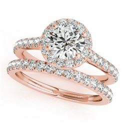 1.42 CTW Certified VS/SI Diamond 2Pc Wedding Set Solitaire Halo 14K Rose Gold - REF-212Y4K - 30838