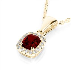 1.25 CTW Garnet & Micro Pave VS/SI Diamond Halo Necklace 10K Yellow Gold - REF-27F3N - 22885