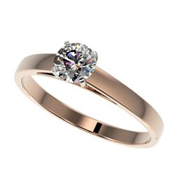 0.55 CTW Certified H-SI/I Quality Diamond Solitaire Engagement Ring 10K Rose Gold - REF-54H2A - 3646