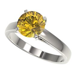 2 CTW Certified Intense Yellow SI Diamond Solitaire Engagement Ring 10K White Gold - REF-344K5W - 33