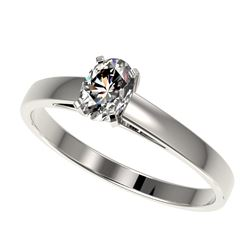 0.50 CTW Certified VS/SI Quality Oval Diamond Engagement Ring 10K White Gold - REF-64N3Y - 32962
