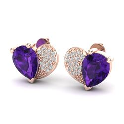 2.50 CTW Amethyst & Micro Pave VS/SI Diamond Earrings 10K Rose Gold - REF-30Y2K - 20063
