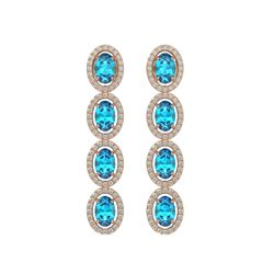 6.28 CTW Swiss Topaz & Diamond Halo Earrings 10K Rose Gold - REF-103Y6K - 40536