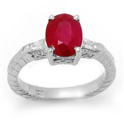 3.70 CTW Ruby & Diamond Ring 14K White Gold - REF-63X8T - 11683