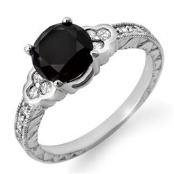 2.52 CTW VS Certified Black & White Diamond Ring 14K White Gold - REF-88F2N - 11820