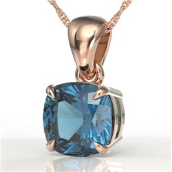 1.50 CTW Cushion Cut London Blue Topaz Designer Necklace 14K Rose Gold - REF-20M5H - 21948