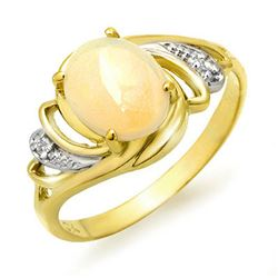 1.05 CTW Opal & Diamond Ring 10K Yellow Gold - REF-20F8N - 12653