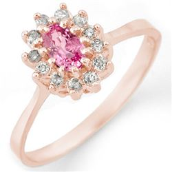 0.60 CTW Pink Sapphire & Diamond Ring 14K Rose Gold - REF-30X5T - 11285