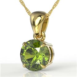2 CTW Green Tourmaline Designer Solitaire Necklace 18K Yellow Gold - REF-33N3Y - 22027