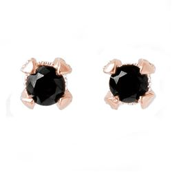 1.0 CTW VS Certified Black & White Diamond Solitaire Earrings 14K Rose Gold - REF-41M3H - 11799