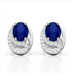 2.50 Sapphire & Micro VS/SI Diamond Stud Earrings 10K White Gold - REF-25M6H - 22338
