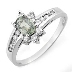 1.08 CTW Green Sapphire & Diamond Ring 10K White Gold - REF-30F8N - 11383