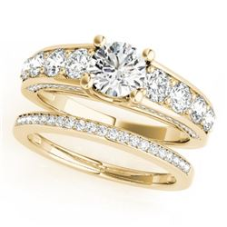3.25 CTW Certified VS/SI Diamond 2Pc Set Solitaire Wedding 14K Yellow Gold - REF-640W5F - 32101