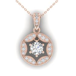 1.5 CTW Certified VS/SI Diamond Art Deco Stud Necklace 14K Rose Gold - REF-363T3M - 30454