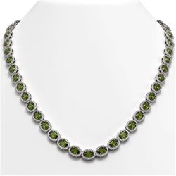 31.1 CTW Tourmaline & Diamond Halo Necklace 10K White Gold - REF-600T2M - 40421