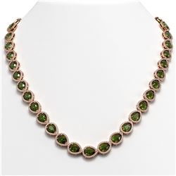 35.13 CTW Tourmaline & Diamond Halo Necklace 10K Rose Gold - REF-775X5T - 41064