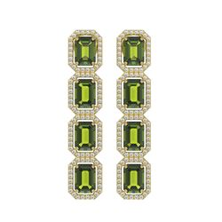 12.41 CTW Tourmaline & Diamond Halo Earrings 10K Yellow Gold - REF-198N2Y - 41449