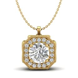 1.54 CTW VS/SI Diamond Solitaire Art Deco Necklace 18K Yellow Gold - REF-409X3T - 37327