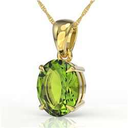 2.75 CTW Peridot Designer Inspired Solitaire Necklace 18K Yellow Gold - REF-34W4F - 21874