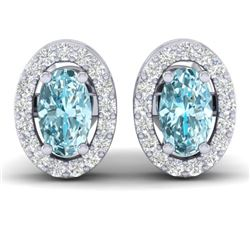 0.80 CTW Sky Blue Topaz & Micro Pave VS/SI Diamond Earrings Halo 18K White Gold - REF-29K3W - 21180