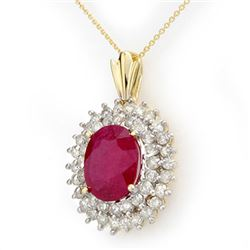 10.81 CTW Ruby & Diamond Pendant 14K Yellow Gold - REF-236Y4K - 12986