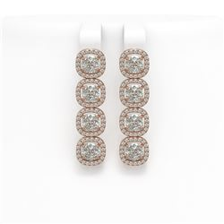 6.01 CTW Cushion Diamond Designer Earrings 18K Rose Gold - REF-1127H6A - 42720