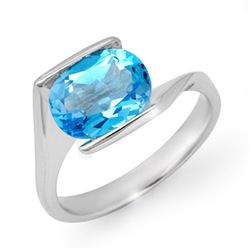 3.0 CTW Blue Topaz Ring 10K White Gold - REF-19F8N - 13177
