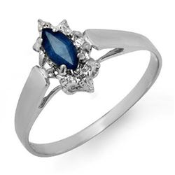 0.33 CTW Blue Sapphire Ring 18K White Gold - REF-19N3Y - 12990