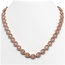 35.13 CTW Morganite & Diamond Halo Necklace 10K Rose Gold - REF-827H8A - 41055