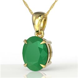 3.50 CTW Emerald Designer Inspired Solitaire Necklace 18K Yellow Gold - REF-33Y3K - 21861