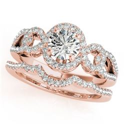 1.55 CTW Certified VS/SI Diamond 2Pc Wedding Set Solitaire Halo 14K Rose Gold - REF-389K3W - 31083