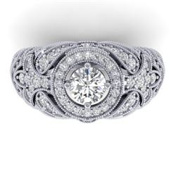 2.35 CTW Certified VS/SI Diamond Art Deco Halo Ring 14K White Gold - REF-293T3M - 30408