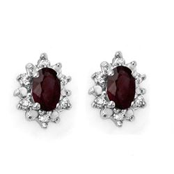 0.61 CTW Ruby & Diamond Earrings 10K Yellow Gold - REF-18A8X - 12621