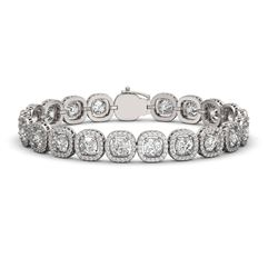 16.54 CTW Cushion Diamond Designer Bracelet 18K White Gold - REF-3061F6N - 42716