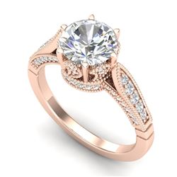 2.2 CTW VS/SI Diamond Art Deco Ring 18K Rose Gold - REF-725F5N - 37239