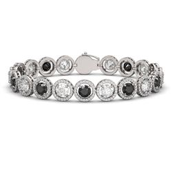 15.47 CTW Black & White Diamond Designer Bracelet 18K White Gold - REF-1561F8N - 42698