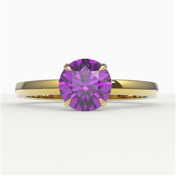 2 CTW Amethyst Designer Inspired Solitaire Engagement Ring 18K Yellow Gold - REF-33X6T - 22210