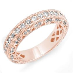 1.10 CTW Certified VS/SI Diamond Band 14K Rose Gold - REF-102K8W - 14312