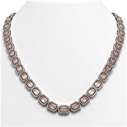50.99 CTW Morganite & Diamond Halo Necklace 10K White Gold - REF-1273T5M - 41342