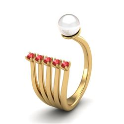 0.75 CTW Red Sapphire & White Pearl Designer Ring 14K Yellow Gold - REF-27Y3K - 20860