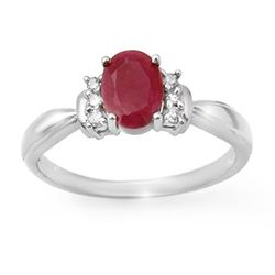 1.35 CTW Ruby & Diamond Ring 14K White Gold - REF-32F2N - 14121